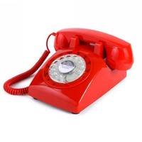 1960's STYLE Rotary Retro old fashioned Dial Home Telephone with Red Color