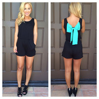 Turquoise Tide Bow Back Romper