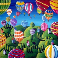 Hot Air Balloons Whimsical Colorful Original by reniebritenbucher