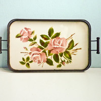 Floral Decor Porcelain Tray Pink Rose Green Leaves by EuroVintage