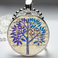 Blue Art Deco Tree 1 inch Round Pendant Necklace | VanityDesign - Jewelry on ArtFire