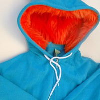 My Big Monster Hoodie  Aqua and orange  Adult Unisex by dkoss2