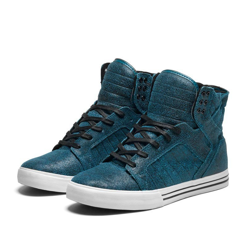 SUPRA SKYTOP Shoe | BLUE BLACK CRACKLE SUEDE | Official SUPRA Site