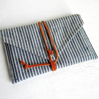 Blue Stripe Denim Leather Wrap Wallet by belrossa on Etsy