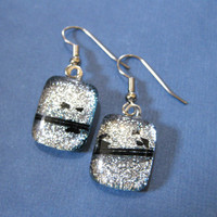 Sparkly Silver Dichroic Glass Earrings Dangle by mysassyglass