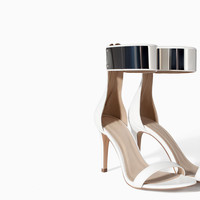 HIGH HEEL SANDAL WITH METALLIC ANKLE STRAP