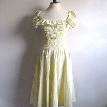 Cole of California Vintage 1960s Dress Pale Yellow Summer Smocked Ruffle Sun Dress Small
