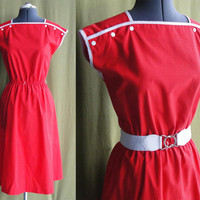 Vintage 1970s 80s Red Cotton Day Dress with by MaPtiteChouette