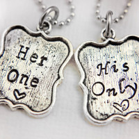 Her One and His Only Couple's necklace set by StampedMemoriesbyMel