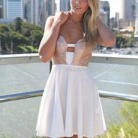 MARIAH DRESS , DRESSES, TOPS, BOTTOMS, JACKETS & JUMPERS, ACCESSORIES, 50% OFF SALE, PRE ORDER, NEW ARRIVALS, PLAYSUIT, COLOUR, GIFT VOUCHER,,White,CUT OUT,STRAPLESS,Gold Australia, Queensland, Brisbane
