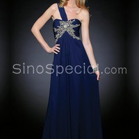 Royal Blue A-line One-shoulder Empire Waistline Sweep Train Chiffon Evening Dress-SinoSpecial.com