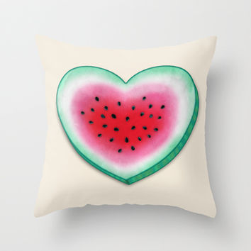 Summer Love - Watermelon Heart Throw Pillow by Perrin Le Feuvre | Society6