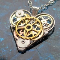 "Mini Mechanical Heart Necklace ""Sevens"" Elegant Industrial Heart Pendant Steampunk Mechanical Love Sculpture Gershenson-Gates Mothers Day"
