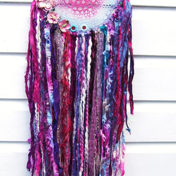 Boho Gypsy Lace Doily Dreamcatcher - Wall Art - Decor Item -   Hand dyed and embellished with Sari silk, Flowers - By White Raven Designs