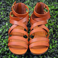 Carpe Diem Tan Strappy Buckle Sandal