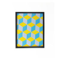 Retro Wall Hanging Purple Blue Yellow Framed 3D Cube Pattern