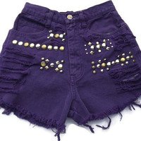Purple Frayed Studded Cut Offs Vintage High Waisted by twazzy