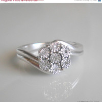 Mothers Day Sale Sterling Silver Cluster Flower Ring with Tiny Diamonds Great for First Diamond, Pinkie, or Promise Ring for the Special Lad