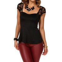 Black Lace Fitted Peplum Top