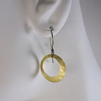 Hammered Brass Disk Charm Drop Earrings with Niobium Earwires - Naturally Nickel Free