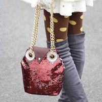 Cute Sequins Embellished Burgundy Owl Handbag. Weekend Bag | Letsglamup | ASOS Marketplace