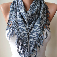 Blue Grey Leopard Scarf with Grey Trim Edge by SwedishShop on Etsy