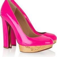 Lanvin |  Horseshoe-heel patent-leather pumps | NET-A-PORTER.COM