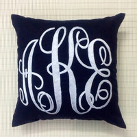 Monogram Pillow Handcrafted DecorativeThrow Pillow Personalized Custom Made Letter Housewarming Dorm Decor Wedding Gift All Sizes Colors