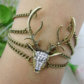 Bracelet - Deer head copper chain Bracelet - Deer head diamond Bracelet