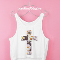 Daisy Cross Crop Tank Top