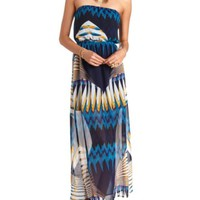 Art Deco Print Strapless Maxi Dress