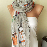 Five Bunnies are Shopping Gray Cotton Long Scarf with by Periay