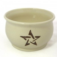 Pentacle cauldron shaped cooking bowl in white and red stoneware | ugabugabowls - Housewares on ArtFire