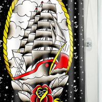 CLIPPER SHIP SHOWER CURTAIN in Bathroom at Sourpuss Clothing