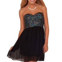 Junior A Line Sequined Sweetheart Homecoming Mini Fun Flirty Dance Party Dress