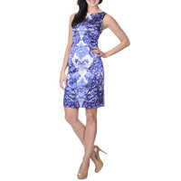 London Times Women's Abstract Floral Scroll Print Dress