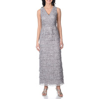 R&M Richards Women's Silver Sequined Multi-tiered Lace Gown