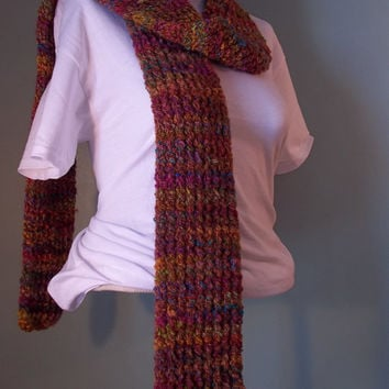 Multi Colored Winter Scarf, Knit Winter Scarf, Knit Scarf, Womans Scarf, Teen Knit Scarf, Long Knit Scarf, Long Winter scarf - Ready to Ship