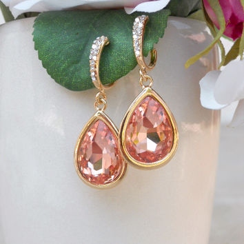 Rose & Gold Teardrop Earrings [5478] - $17.00 : Vintage Inspired Clothing & Affordable Dresses, deloom | Modern. Vintage. Crafted.