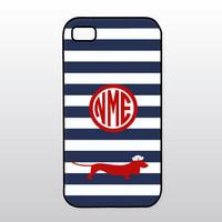 Nautical iPhone Case - Dog iPhone Case - Dachshund - iPhone 4 4S, iPhone 5 5S 5C - Navy Blue & Red w/ Doxie - Monogrammed Gift for Dog Lover