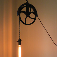 Antique Pulley lamp by pgpostals on Etsy