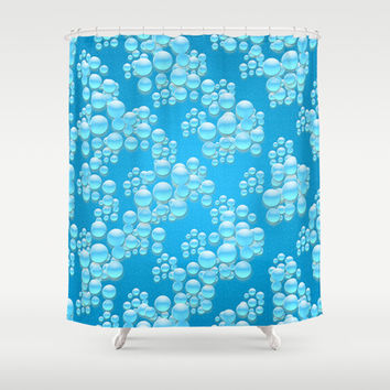 Water Drops Illustration Shower Curtain by Danflcreativo