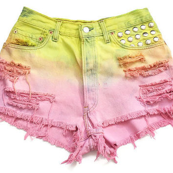 Pastel ombre high waisted shorts L by deathdiscolovesyou on Etsy