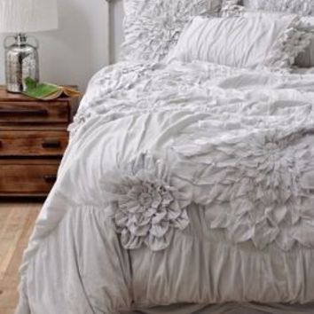 Georgina Duvet Cover, Light Grey - Anthropologie.com