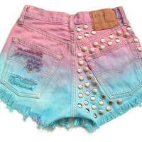 Ombre dip dyed and studded high waist shorts by deathdiscolovesyou