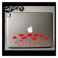 Red Poppy Macbook Decal | Decalville - Housewares on ArtFire