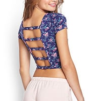 Caged Floral Crop Top