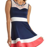 Mesh Yoke Color Block Skater Dress by Charlotte Russe - Navy Combo