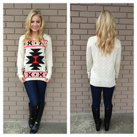 Red & Black Knit Tribal Sweater