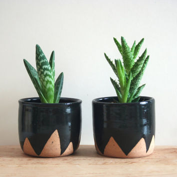 Black Mountain Planters - set of two small speckled planters, black ceramic plant pot triangle zigzag geometric design, stoneware flower pot